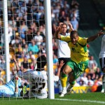 Simeon Jackson scores for Norwich City against Derby County